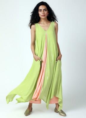 Mint Green Asymmetric Kurta-Pant