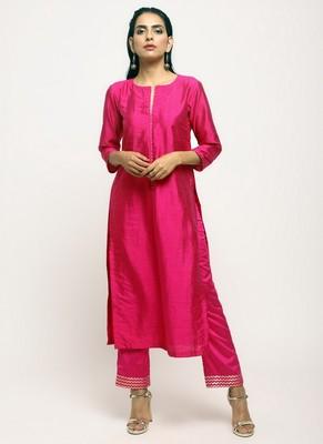 Pink Foil High Slit- Foil Pant