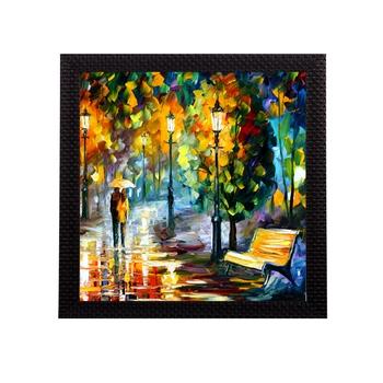 Couple during Rain View Satin Matt Texture UV Art Painting