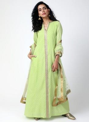 Green Lace Kurta-Pant-Dupatta