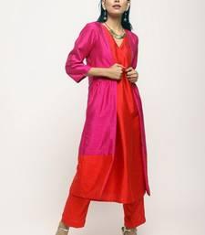 Pink Orange Jacket Kurta Set