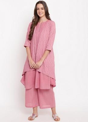 Pink Pin-Tucks Kurta-Palazzo-Jacket