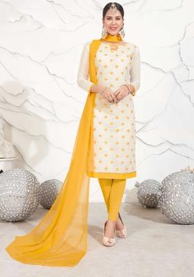 Off-white floral print chanderi salwar