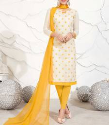 Off-white floral print chanderi salwar