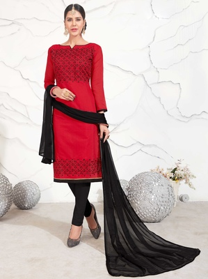 Red geometric print chanderi salwar