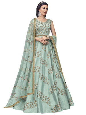 Turquoise embroidered raw silk salwar
