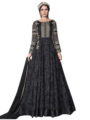 Black embroidered tissue salwar