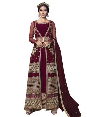 Maroon embroidered net salwar