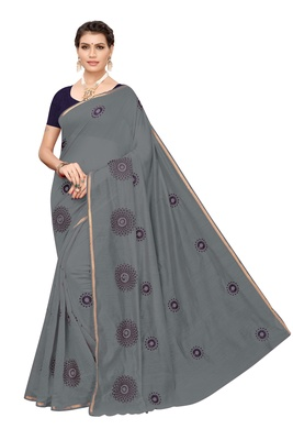 Grey embroidered chanderi silk saree with blouse