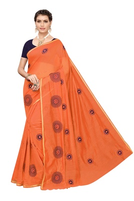 Orange embroidered chanderi silk saree with blouse