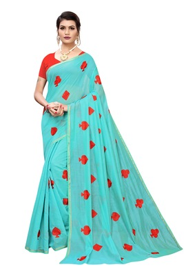 TURQUOISE EMBROIDERED CHANDERI SAREE WITH BLOUSE