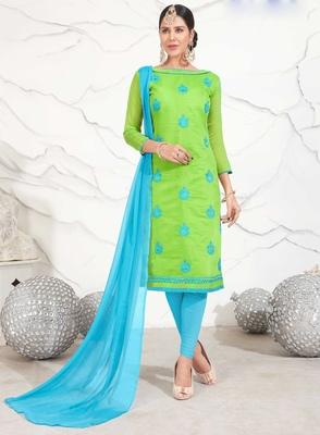 Light-green abstract print chanderi salwar