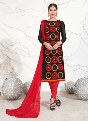 Black geometric print chanderi salwar