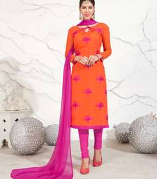 Orange floral print chanderi salwar
