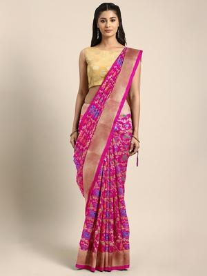 Rani pink woven art silk saree with blouse