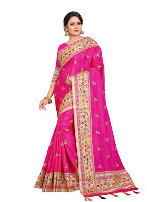 Rani pink embroidered art silk saree with blouse