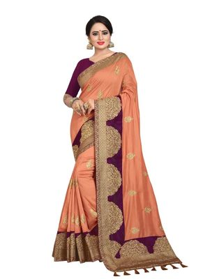 Dark peach embroidered art silk saree with blouse