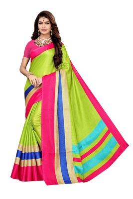 Light green printed khadi saree with blouse