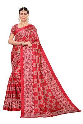 Pink printed khadi saree with blouse