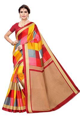 Red printed khadi saree with blouse