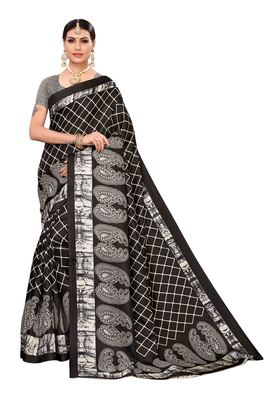 Black printed khadi saree with blouse