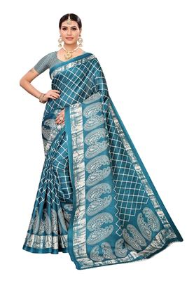 Aqua blue printed khadi saree with blouse