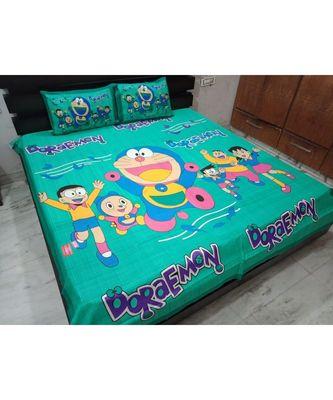 Cotton Bedsheet Handmade Handscreen Cartoon Print Bedspread Double Bedsheet with Pillow Cover