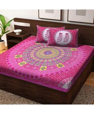 Cotton Bedsheet Handmade Handscreen Floral Printed Double Bed with Pillow Cover