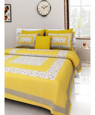 Cotton Bedding Bedspread Handmade Screen Floral Printed Bedsheet with Pillow Cover