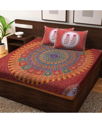 Indian Handmade Queen size Cotton Bedding Bedsheet Bedcover with Pillow Cover