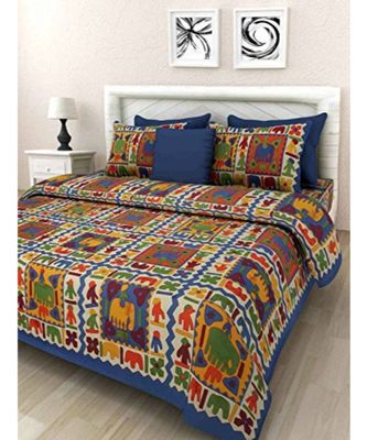 Cotton Indian Print Double Bedsheet with 2 pillow Cover Sanganeri Print