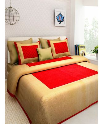 Cotton Hand Screen Printed Bedding Bedsheet with 2 Pillow Cover
