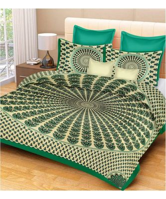 100% Cotton Bedsheet Indian Handmade Handscreen Printed Bedcover with 2 Pillow Cover