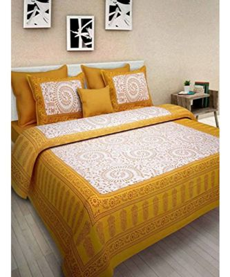 Cotton Bedsheet Handmade Screen Printed Bedsheet with Pillow Cover
