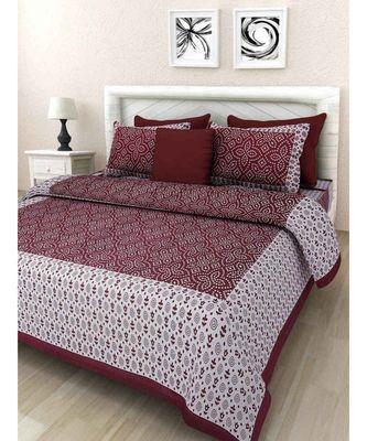Cotton Bedsheet Handmade Screen Printed Bedsheet with Pillow Cover