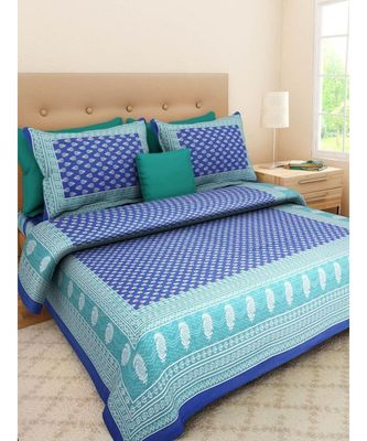 Indian Handmade Cotton Bedsheet Blue Screen printed with Pillow Cover