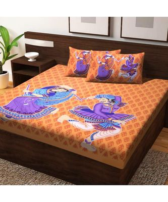 Indian Handmade Cotton bedsheet Screen Printed with Pillow Cover