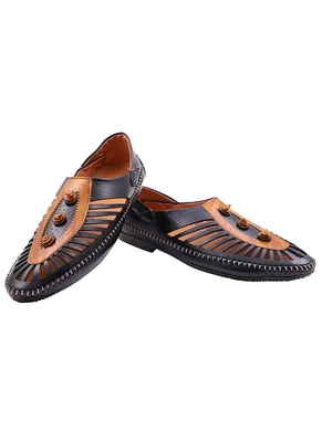 Casual Ethnic Black Nagra Shoes For Men