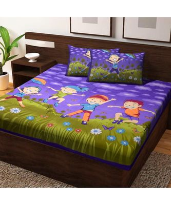 Indian Traditional Screen Printed Cotton Bedding Bedspread with Pillow Cover