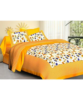 Handmade Screen Printed Cotton Bedding Bedspread Bedsheet with Pillow Cover
