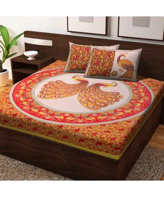 100% Cotton Bedsheet Handmade Handscreen Peacock Print Bedspread Double Bedsheet with Pillow Cover