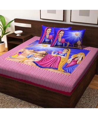 RAJASTHANI JAIPURI SANGANERI TRADITIONAL DOUBLE BEDSHEET WITH 2 PILLOW COVERS