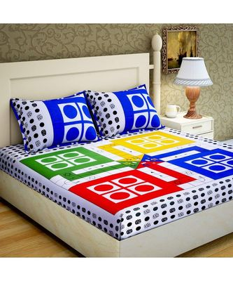 100% Cotton Bedsheet Indian Handmade Handscreen Printed Bedcover with Pillow Cover