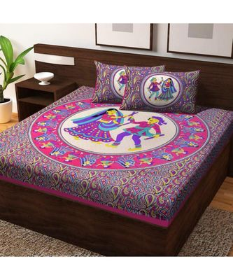 Pure Cotton Bedding Bedspead Hand Screen Printed Bedsheet With Pillow