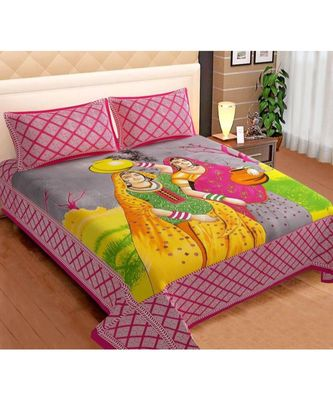 Cotton Bedsheet Bedapread Hand Printed Double bedsheet with pillow Cover