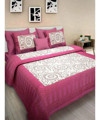Indian Cotton Bedsheet Bedspread with Pillow Cover