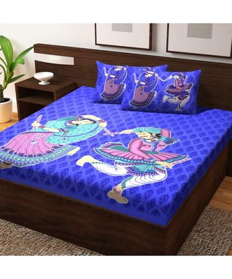 India Sanganeri Print Bedsheet Bedspread with Pillow Cover