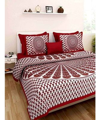 Jaipuri Cotton Print Cotto  Bedding Bedspread Bedsheet with Pillow Cover