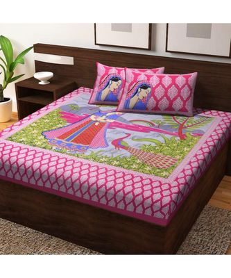 100% Cotton Indian Print Bedsheet with Pillow Cover Bohemian Bedspread