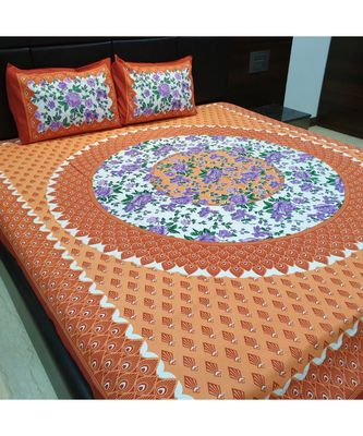 Indian Print Cotton Bedsheet with 2 Pillow Cover Sanganeri Print Bedding Bedspread